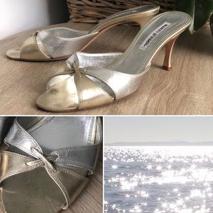 Manolo Blahnik champagne and silver mules